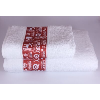 Merry Christmas 2 Piece Towel Set Color: White