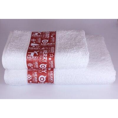 Merry Christmas 2 Piece Towel Set Color: White