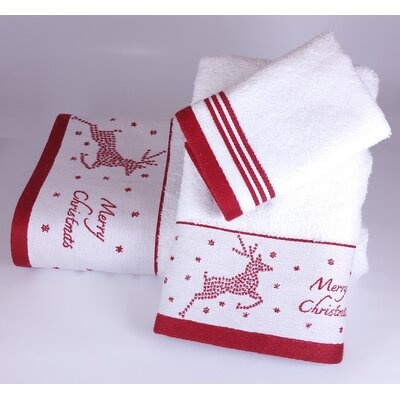 Embroidered Christmas Deer 3 Piece Towel Set