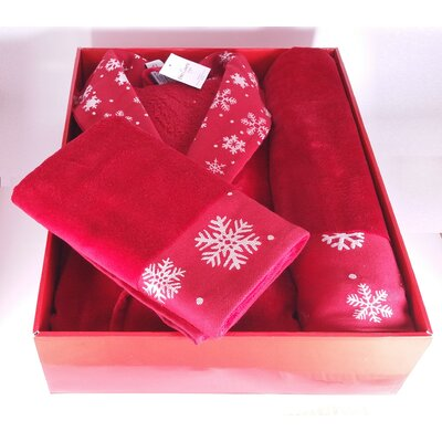 Christmas Bathrobe 3 Piece Towel Set Color: Red