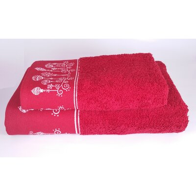 Embellished Christmas Ornaments 2 Piece Towel Set Color: Red