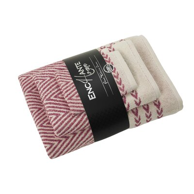 Salina 3 Piece Towel Set Color: Red Melange