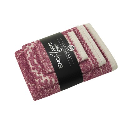 Esquire 100% Turkish Cotton 3 Piece Towel Set Color: Red Melange
