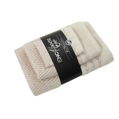 Salina 3 Piece Towel Set Color: Beige Melange