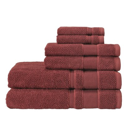 6 Piece Towel Set Color: Terracota