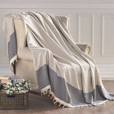 Turkish Cotton Throw Blanket Color: Gray