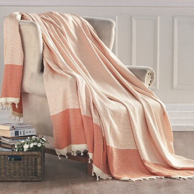 Turkish Cotton Throw Blanket Color: Orange