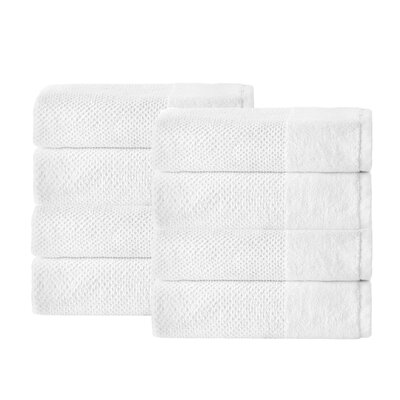 Incanto 100% Turkish Cotton 8 Piece Hand Towel Set Color: White