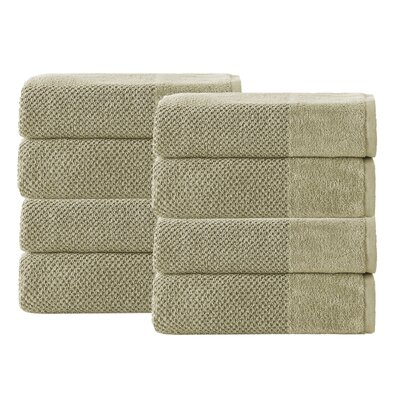 Incanto 100% Turkish Cotton 8 Piece Hand Towel Set Color: Olive