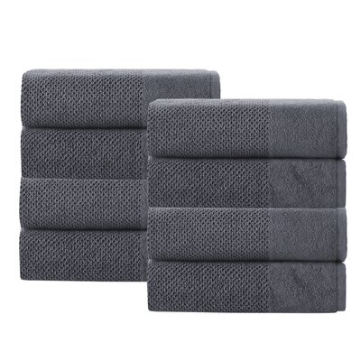 Incanto 100% Turkish Cotton 8 Piece Hand Towel Set Color: Anthracite