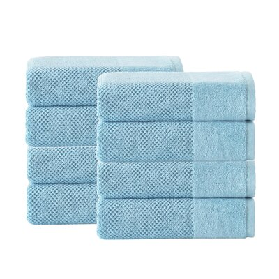 Incanto 100% Turkish Cotton 8 Piece Hand Towel Set Color: Aqua