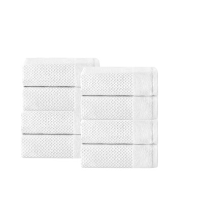 Incanto 100% Turkish Cotton 8 Piece Wash Cloth Set Color: White