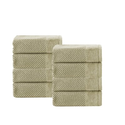 Incanto 100% Turkish Cotton 8 Piece Wash Cloth Set Color: Olive