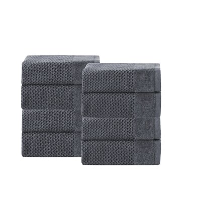 Incanto 100% Turkish Cotton 8 Piece Wash Cloth Set Color: Anthracite