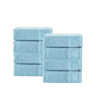Incanto 100% Turkish Cotton 8 Piece Wash Cloth Set Color: Aqua