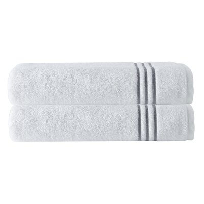 Broderie Embriodery 100% Cotton Bath Towel Color: White/Silver