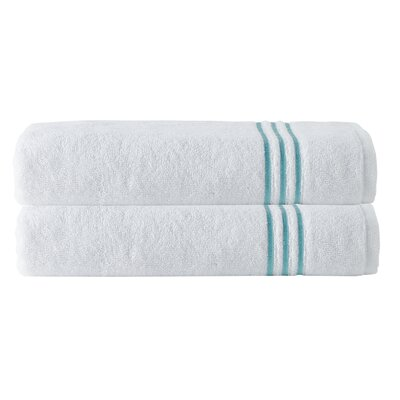 Broderie Embriodery 100% Cotton Bath Towel Color: White/Aqua