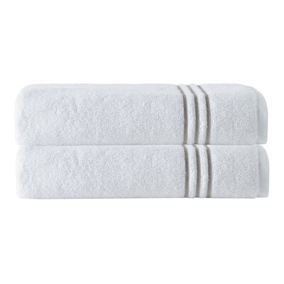 Broderie Embriodery 100% Cotton Bath Towel Color: White/Beige