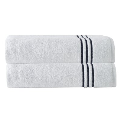 Broderie Embriodery 100% Cotton Bath Towel Color: White/Navy