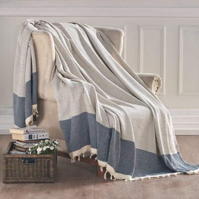 Turkish Cotton Throw Blanket Color: Blue