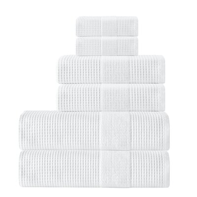 Ria 6 Piece Towel Set Color: White