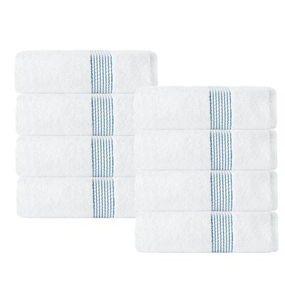 Elegante Washcloth Color: White/Aqua