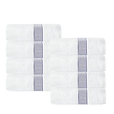 Elegante Washcloth Color: White/Navy