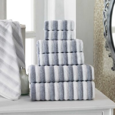 Napa Turkish Cotton 6 Piece Towel Set Color: White/Navy