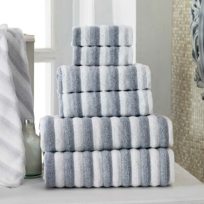 Napa Wash Cloth Color: White/Navy