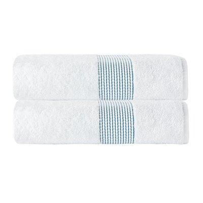 Elegante Bath Towel Color: White/Aqua