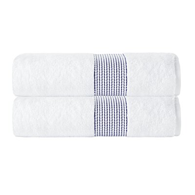 Elegante Bath Towel Color: White/Navy