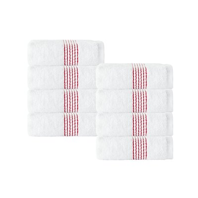 Elegante Wash Cloth Color: White/Red