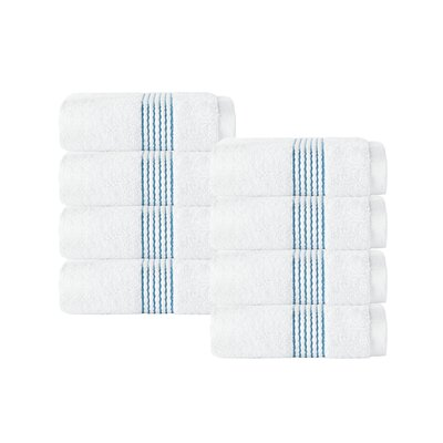 Elegante Wash Cloth Color: White/Aqua