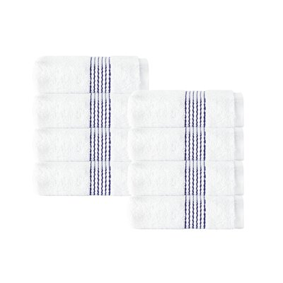 Elegante Wash Cloth Color: White/Navy