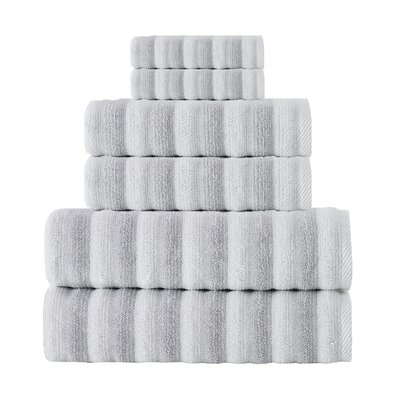 Napa Turkish Cotton 6 Piece Towel Set Color: White/Gray