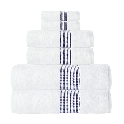 Elegante Turkish Cotton 6 Piece Towel Set Color: White/Navy
