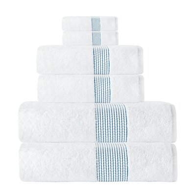 Elegante Turkish Cotton 6 Piece Towel Set Color: White/Aqua