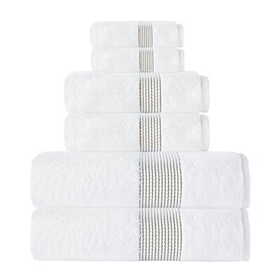 Elegante Turkish Cotton 6 Piece Towel Set Color: White/Beige