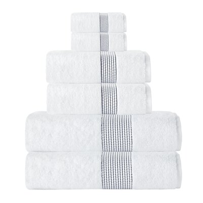 Elegante Turkish Cotton 6 Piece Towel Set Color: White/Anthracite