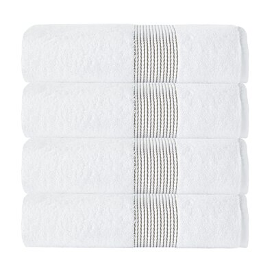 Elegante Bath Towel Color: White/Beige