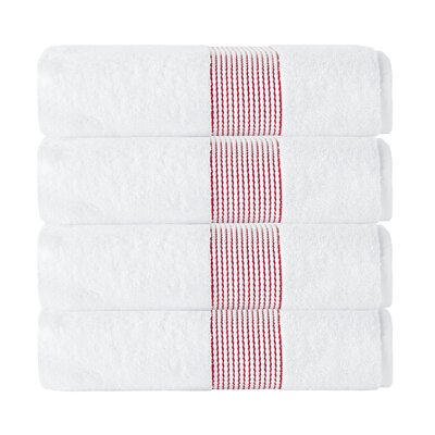 Elegante Bath Towel Color: White/Red