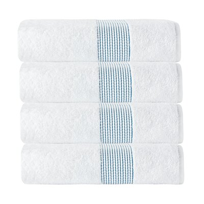 Elegante Bath Towel Color: White/Aqua