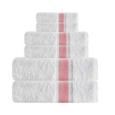 Unique Turkish Smooth Cotton 6 Piece Towel Set Color: Salmon