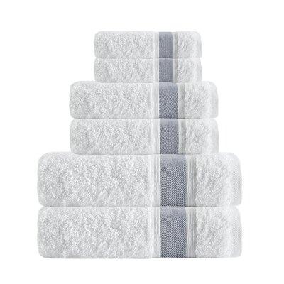 Unique Turkish Smooth Cotton 6 Piece Towel Set Color: Anthracite
