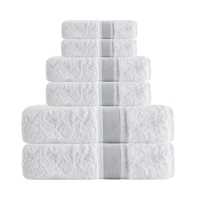 Unique Turkish Smooth Cotton 6 Piece Towel Set Color: Silver