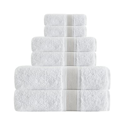 Unique Turkish Smooth Cotton 6 Piece Towel Set Color: Beige