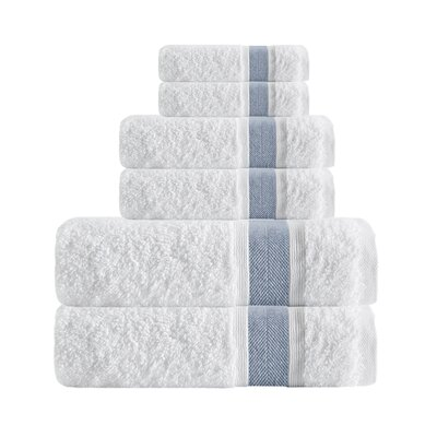 Unique Turkish Smooth Cotton 6 Piece Towel Set Color: Blue