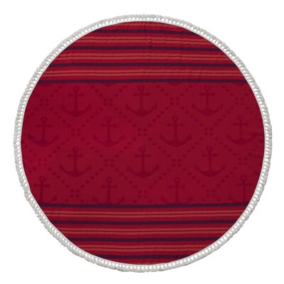 Striped Round Beach Towel Color: Red
