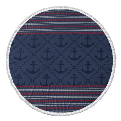 Striped Round Beach Towel Color: Navy
