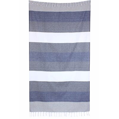 Striped Pestemal Fouta Turkish Cotton Beach Towel Color: Navy